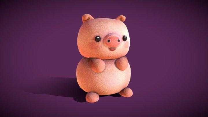 Cute Chubby Pig 3D Model