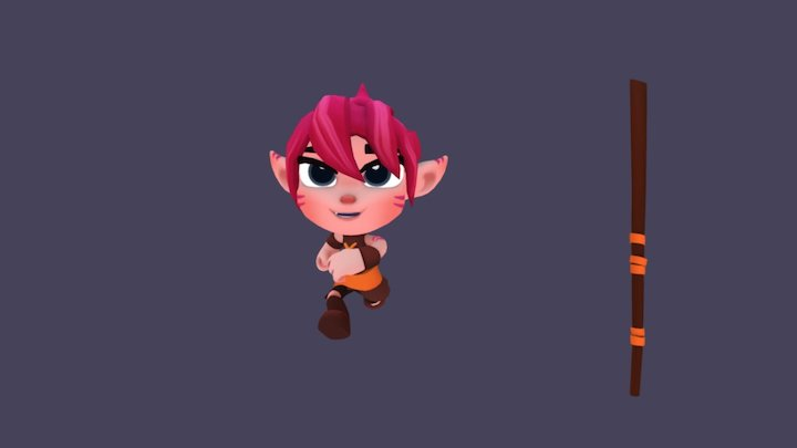 Lilly and Snout - Run Cycle Girl 3D Model