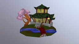 Chinese Temple HandPainted 3D Model