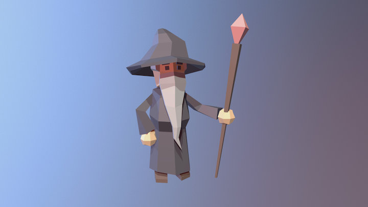 Wizard asset fot 'Tower of the Wizard' scene 3D Model