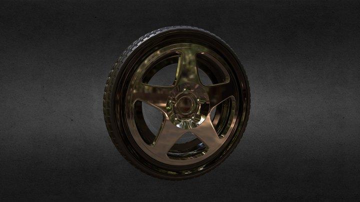 Simple Sports Car Wheel 3D Model