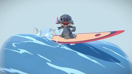 Stitch surfing Fan-Art 3D Model