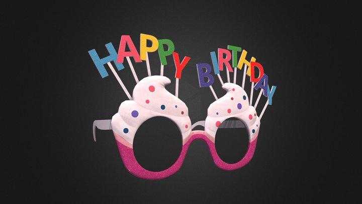 Happy Birthday Sunglasses 3D Model