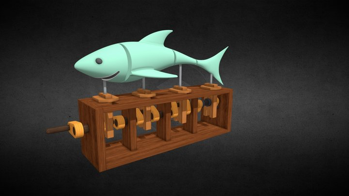 Swimming Shark Wooden Toy 3D Model