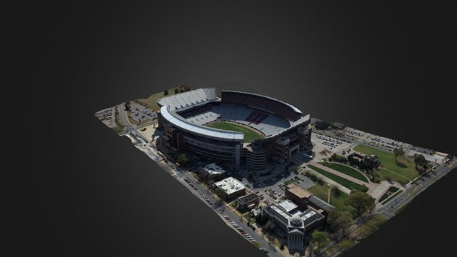 Alabama Bryant Denny Stadium 2016 3D Model