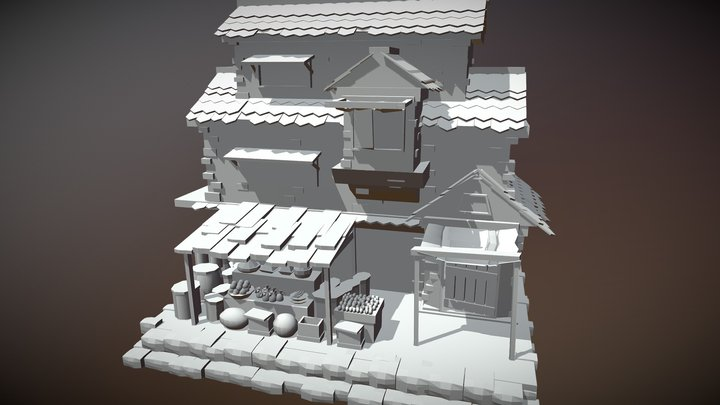 Medieval House With Shop 3D Model
