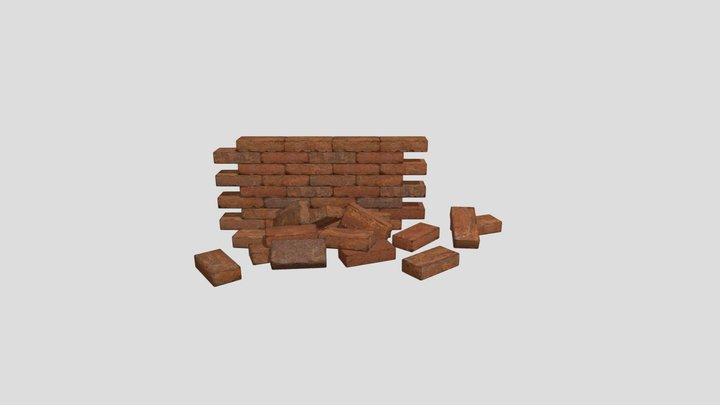 Red Brick Set 01 3D Model