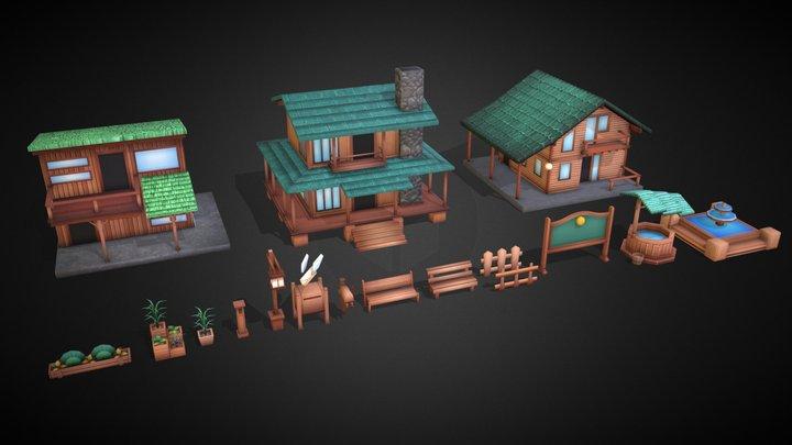 Hajimaru Town - Lowpoly Pack 3D Model