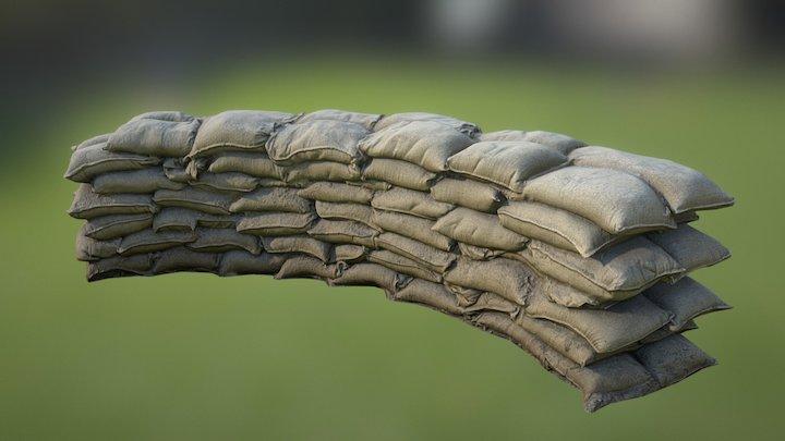 Sandbag Wall Bend 01 3D Model