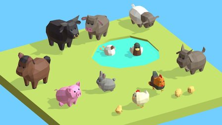 Lowpoly Farm Animals 3D Model