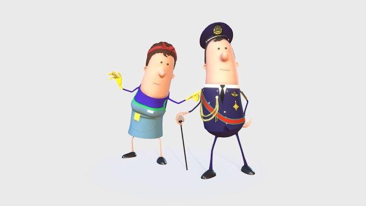 King Bertie and Olivia - Ethias 3D Model