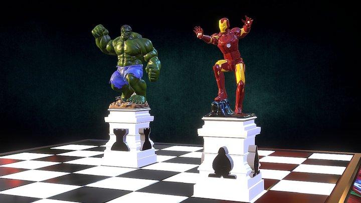 Marvel Superheroes Chess 3D Model