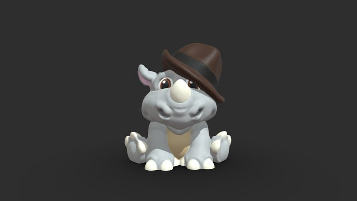 3DPrint - Baby Rhino 3D Model