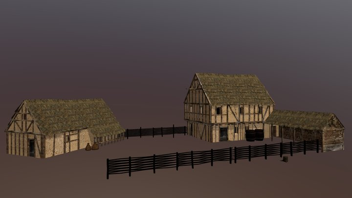 Thatched rural houses 3D Model