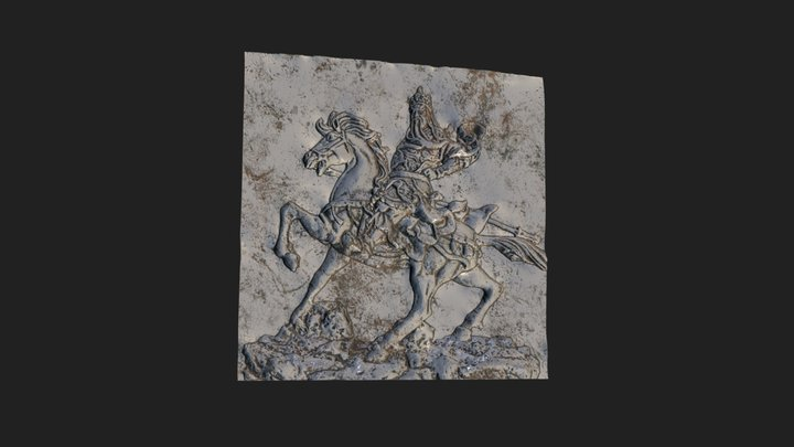 Guan Yu Equestrian Bas-Relief 3D Model