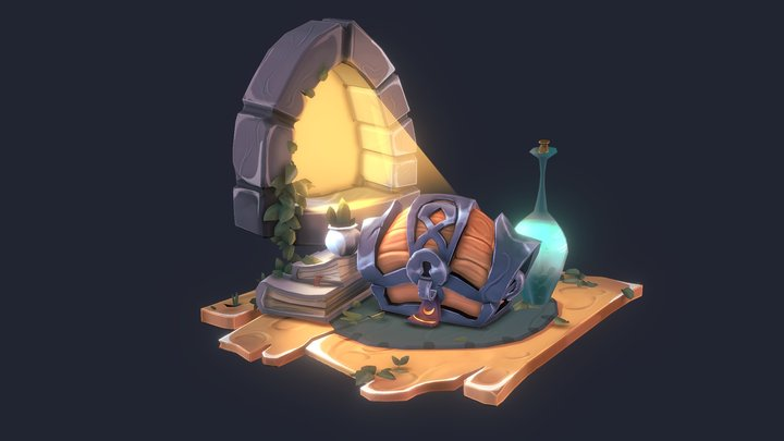 Stylized chest - Baking maps practice 3D Model