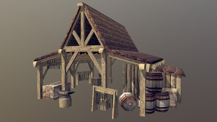 Blacksmith Hut LV1 3D Model