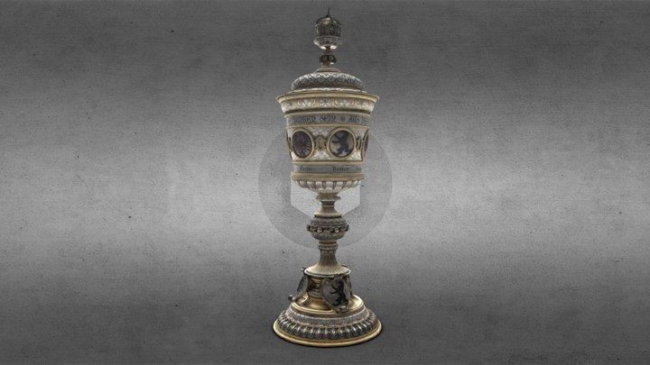 Silver lid goblet 3D Model