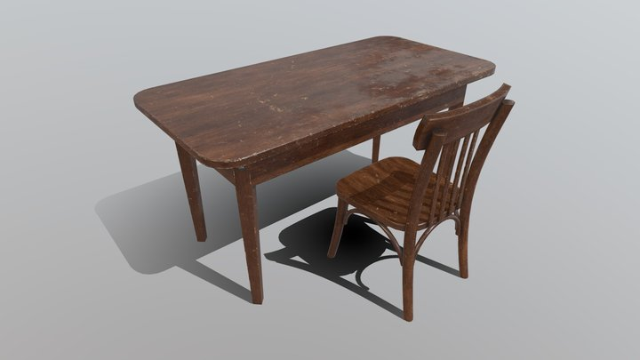 Old Table And Chair 3D Model