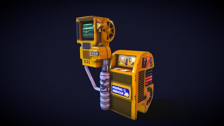Futuristic Display Postbox 3D Model