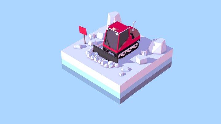 Cartoon Low Poly Snowcat Small 3D Model