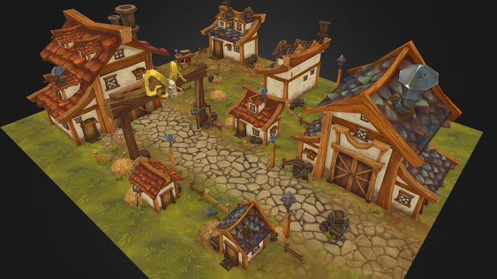 Fantasy Farm Village 3D Model
