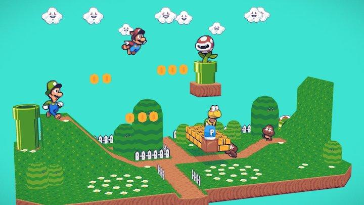 Super Mario Bros 3 . 1-2 3D Model