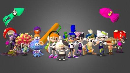 Splatoon 64 Characters 3D Model