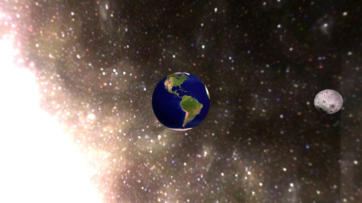 Earth and Moon II 3D Model