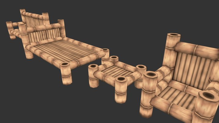 Handpainted Low poly Bamboo Furniture 3D Model