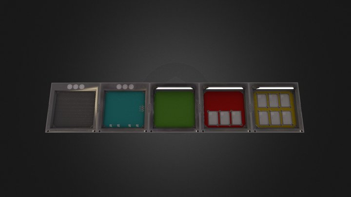 IndustriaL Scifi Colored Walls 3D Model