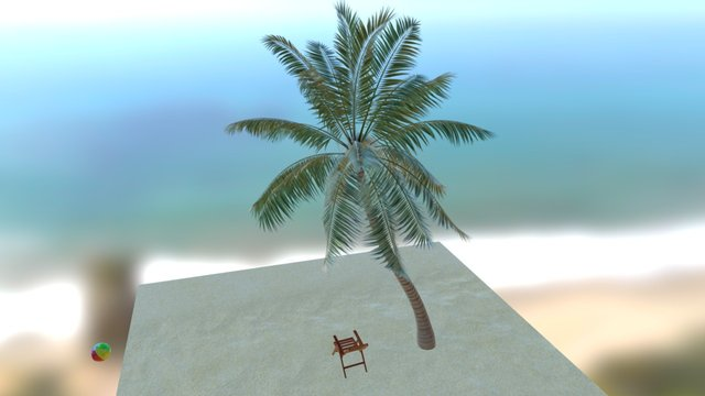 Strandscene Palme animiert 3D Model