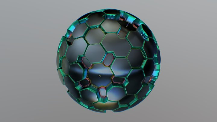 Geodesic Tiling Mesh colored 3D Model