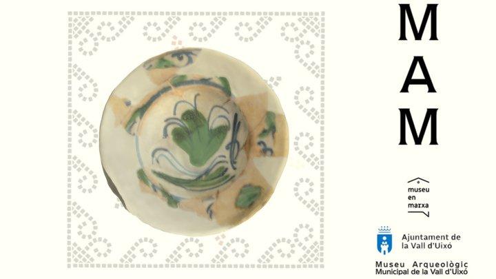 MAMUIXO 20/03 Plato de loza blanca y verde 3D Model