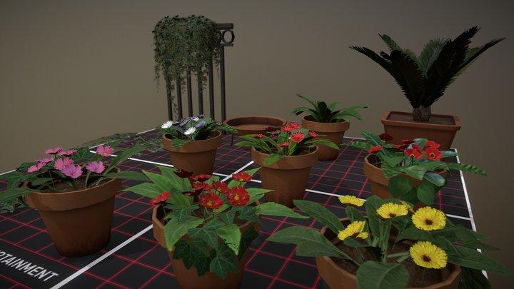 Low Poly Vegetation 3D Model