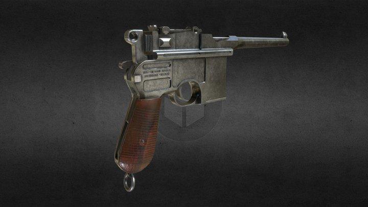Low poly C96 mauser pistol 3D Model