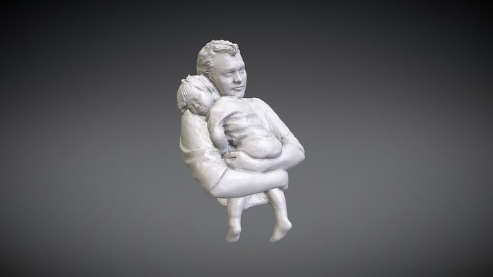 Father and Daughter Sculpture 3D Model