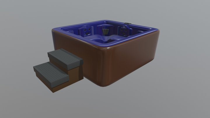 Simple Hot Tub With Steps 3D Model