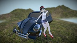 Volkswagen pin up girl 3D Model