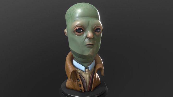 Alien in raincoat 3D Model