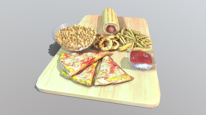 Thick fastfood dinner 3D Model