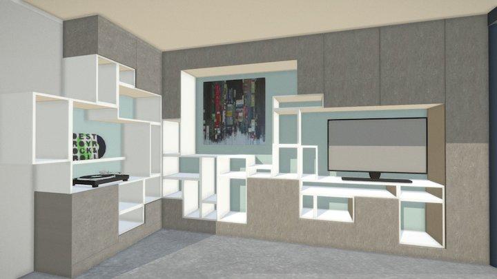 Espace Salon Marion Proposition 1 yellow 3D Model