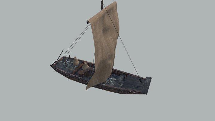 Gabarre (freight river boat) 3D Model