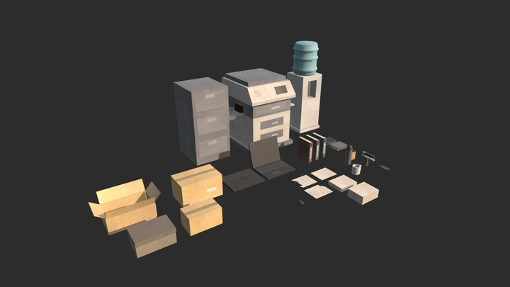 Modulair Office assets (extra) (Post Apoc) 3D Model