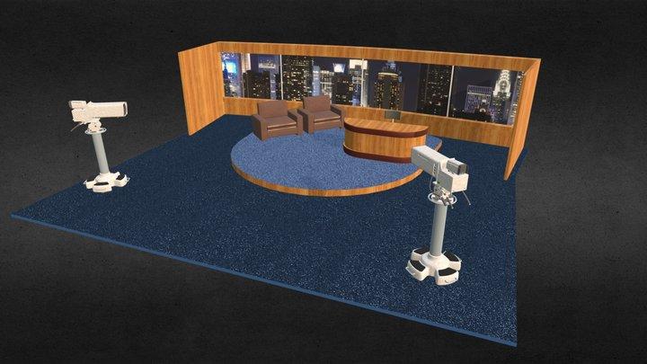 Late Night TV Show Set 3D Model