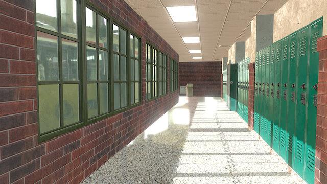 School Hallway 2 3D Model