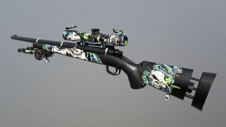 M24 Sniper Rifle- knife in skull 3D Model