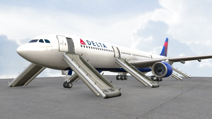 A330-300 With Rafts 3D Model