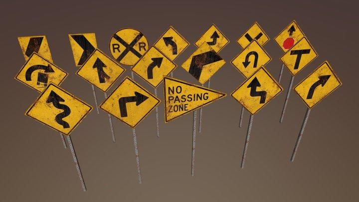 Caution Signs Set 2 3D Model