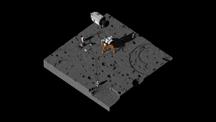 Apollo 11 Moon landing on Tranquility Base 3D Model